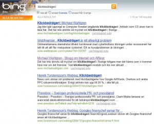 Klickbedrägeri - sökresultat Bing